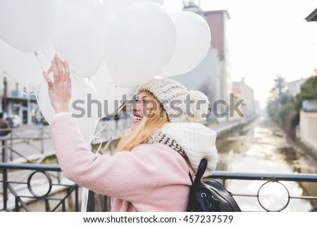 young beautiful caucasian blonde hair woman  - stock photo