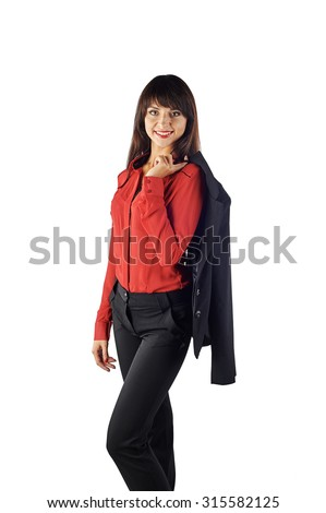 Young beautiful Caucasian business woman holding a jacket on her shoulder. Isolated in full length on white background. Looking at the camera - stock photo