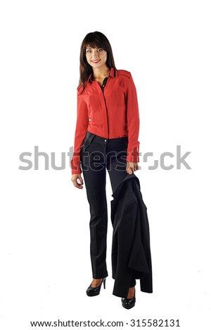 Young beautiful Caucasian business woman holding a jacket on her shoulder. Isolated on white background. Looking at the camera - stock photo