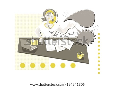 young beautiful caucasian type woman in her office answering phone call on little yellow dots with blank talk bubbles with place for your text cartoon illustration on white background raster version - stock photo