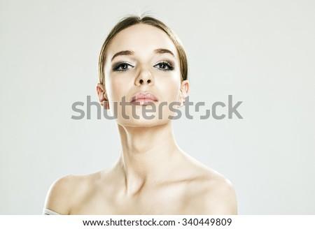 Young beautiful caucasian woman - stock photo