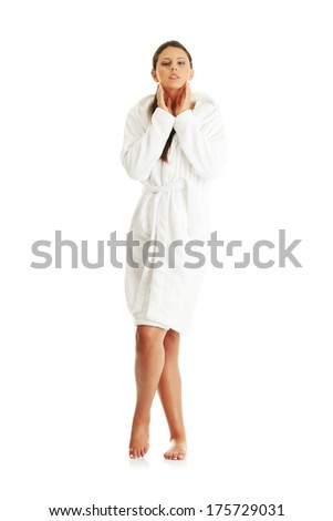Young beautiful caucasian woman after bath full portrait isolated on white  - stock photo