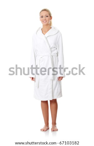 Young beautiful caucasian woman after bath, full portrait isolated on white - looking left