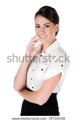 Young, beautiful, confident businesswoman looking at camera, happy and smiling, isolated on white background - stock photo
