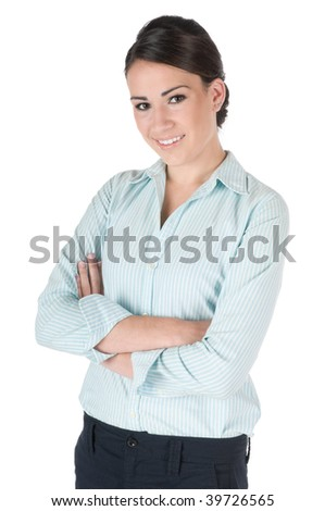 Young, beautiful, confident businesswoman, standing up with arms crossed, happy and smiling, isolated on white background