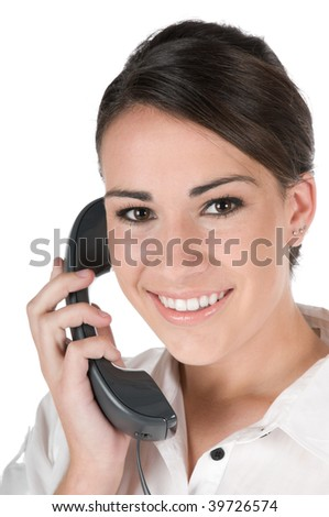Young, beautiful, confident businesswoman talking on the phone, happy and smiling, isolated on white background - stock photo