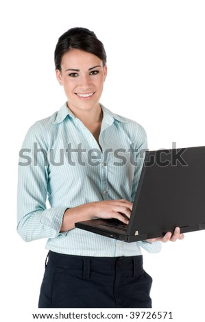 Young, beautiful, confident businesswoman with laptop, happy and smiling, isolated on white background