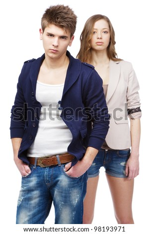 Young beautiful couple isolated on white background - stock photo