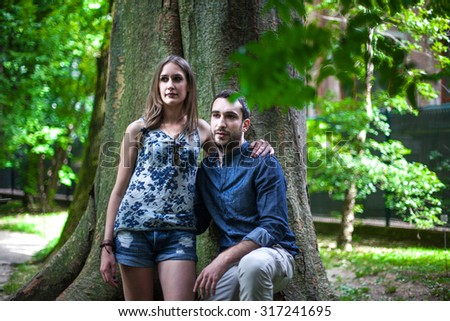 Young Beautiful Couple Portrait . Outdoors