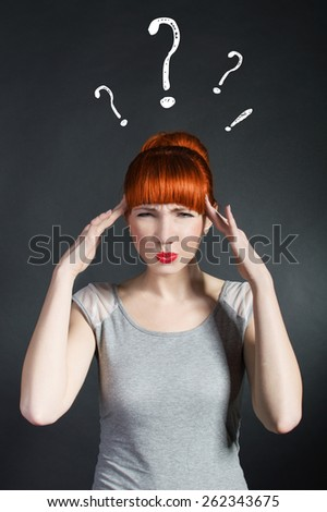 Young beautiful cute unhappy tired stressed confused exhausted overworked thoughtful sleepless bored wondering woman with red lips posing on black background. Job entrepreneur. Negative facial - stock photo