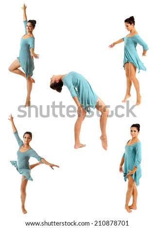 Young beautiful dancer in a blue dress isolated on white - stock photo