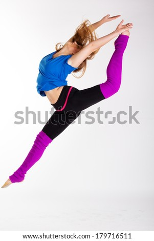 young beautiful dancer teen girl dancing and jumping - stock photo