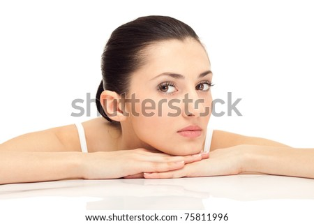 young beautiful female, close up portrait of a beautiful female model - stock photo