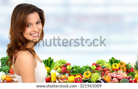 Young beautiful female portrait over banner background. - stock photo