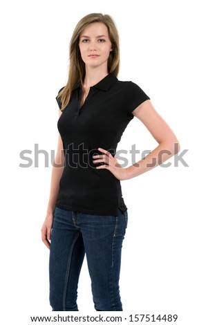 Young beautiful female posing with a blank black polo shirt. Ready for your design or artwork. - stock photo