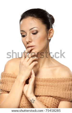 Young beautiful female thinking over something with her finger on the lips isolated on white background - stock photo