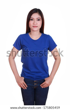 young beautiful female with blank blue t-shirt isolated on white background - stock photo