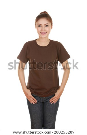 young beautiful female with blank brown t-shirt isolated on white background - stock photo