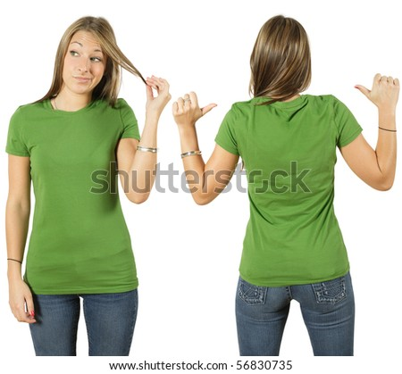 Young beautiful female with blank green shirt, front and back. Ready for your design or logo. - stock photo