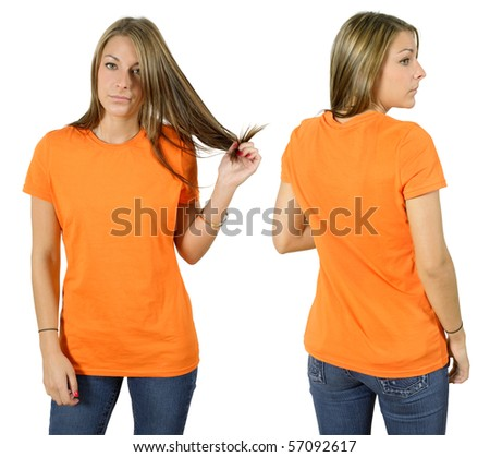 Young beautiful female with blank orange shirt, front and back. Ready for your design or logo. - stock photo