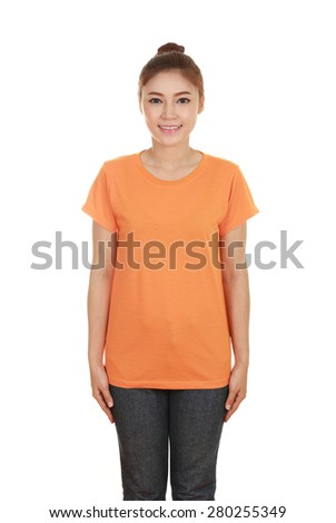 young beautiful female with blank orange t-shirt isolated on white background - stock photo
