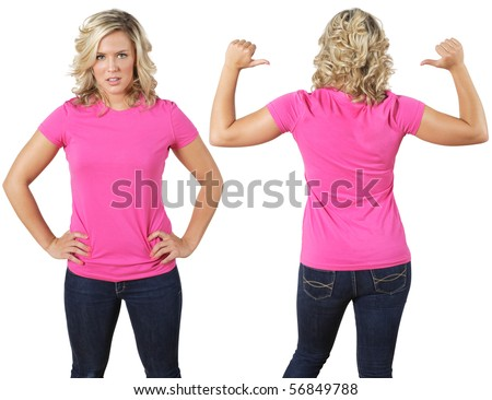 Young beautiful female with blank pink shirt, front and back. Ready for your design or logo. - stock photo