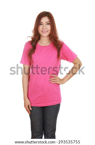 young beautiful female with blank pink t-shirt isolated on white background