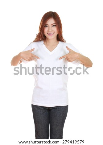 young beautiful female with blank white t-shirt isolated on white background - stock photo