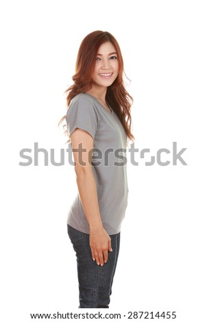 young beautiful female with gray t-shirt (side view) isolated on white background