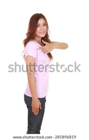 young beautiful female with pink t-shirt (side view) isolated on white background