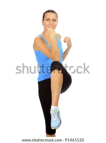 young beautiful fitness woman, isolated on white background