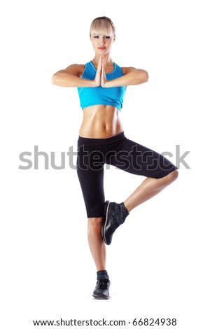 Young beautiful fitness woman over white - stock photo