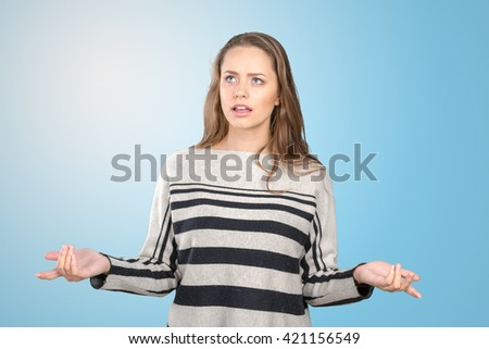 Young beautiful frustrated angry woman - stock photo