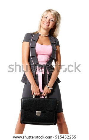 Young beautiful girl, a businesswoman with briefcase on the white background