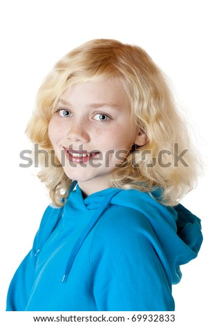 Young beautiful girl / child smiles happy into camera. Isolated on white background.