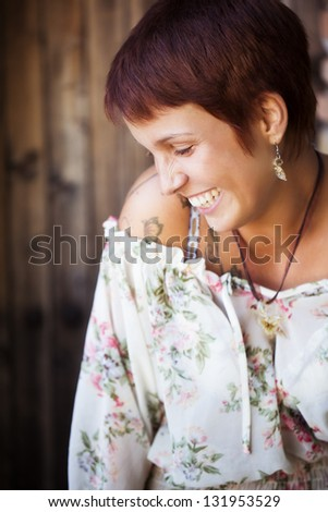 Young beautiful girl close portrait in lovely gesture - stock photo