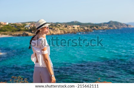 Young beautiful girl during italian summer vacation
