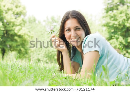 Young beautiful girl enjoy the nature.