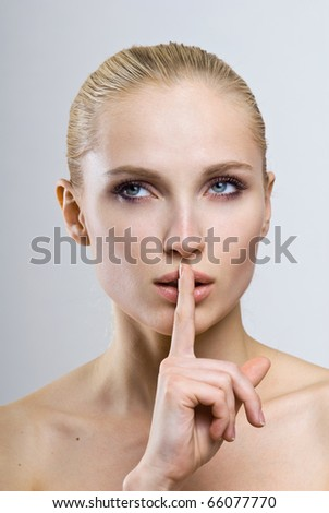 young beautiful girl face. perfect skin portrait - stock photo
