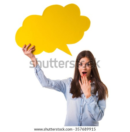 Young beautiful girl holding a yellow bubble for text, isolated on a white background - stock photo