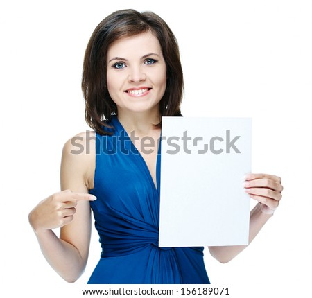 young beautiful girl in a blue dress, holding a poster and shows a finger at him.Isolated on white background