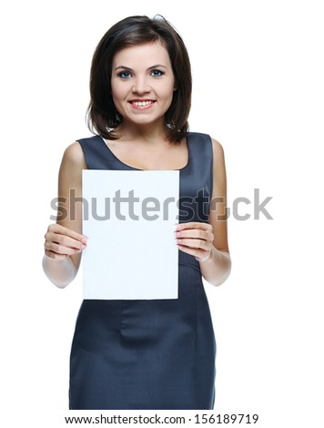 young beautiful girl in a gray business dress, holding a poster. Isolated on white background