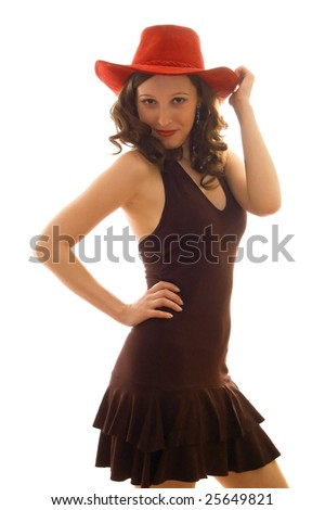 young beautiful girl in a red hat and brown dress. Isolation on a white background - stock photo