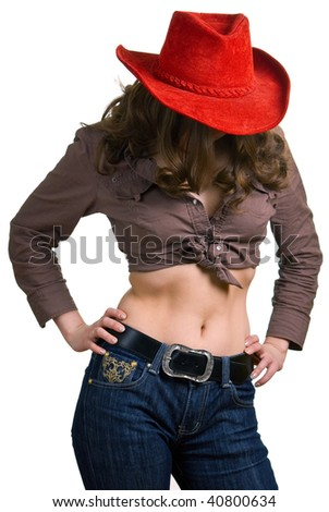young beautiful girl in a red hat and jeans. Isolation on a white background - stock photo