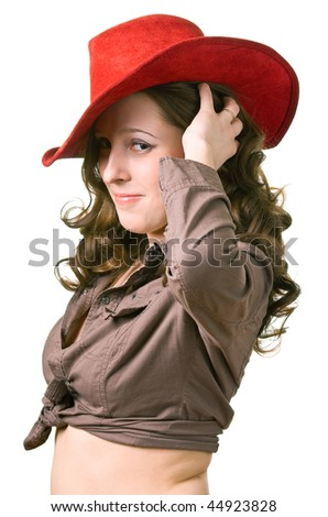 young beautiful girl in a red hat. Isolation on a white background - stock photo