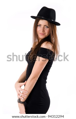 young beautiful girl in black dress isolated on white