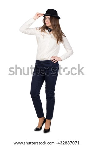 Young beautiful girl in black hat, isolated on white  - stock photo