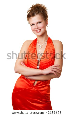 Young beautiful girl in red clothes, isolated on a white background