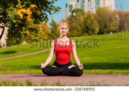 Young beautiful girl is engaged in yoga, outdoors in a park in summer - stock photo