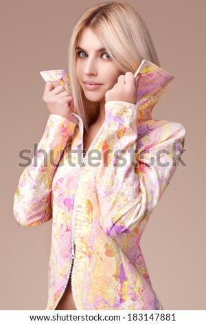 Young beautiful girl . more outfits in photo set - stock photo
